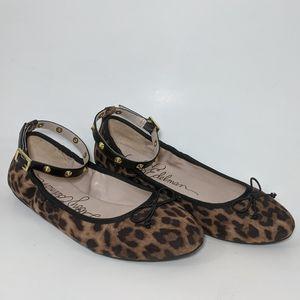 LIBBY EDELMAN Cheetah ballet ankle strap flats 7.5